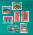 japanese postage stamps and postmarks vector image vector image