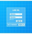 login form on blueprint background vector image vector image