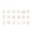 logistic thin symbols delivering boxes vector image