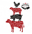 meat cuts diagrams for butcher shop animal vector image