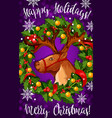 merry christmas santa deer greeting card vector image