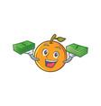 orange fruit cartoon character with money vector image vector image