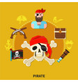 pirate cartoon composition vector image vector image