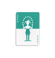 playing card with joker in cyan and white design vector image vector image