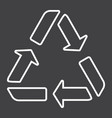 Recycle symbol line icon eco and delivery