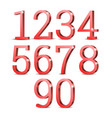 red 3d numbers vector image vector image