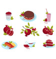 ripe pomegranate fresh fruit food desserts and vector image vector image