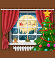 santa claus and his reindeer in window vector image vector image