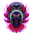 skull head robot mascot logo vector image vector image
