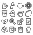tea icons set on white background line style vector image vector image