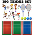 Tennis players and courts vector image
