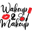 wakeup makeup on white background vector image vector image
