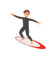 young male athlete engaged in surfing guy on vector image vector image