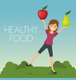 young woman with fruits healthy food vector image