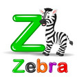 zebra animal and letter z for kids abc education i vector image