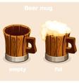 Cartoon old wooden beer tankard in vector image