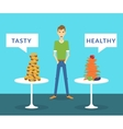 Thin man standing between tasty burgers and vector image