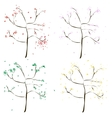 Four colored wood - green yellow red pink vector image