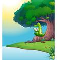 A crocodile reading under the tree vector image vector image