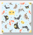 Animal seamless pattern collection with cat 2 vector image vector image