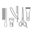 barber tools coloring book vector image