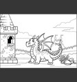 black and white coloring page dragon and castle vector image