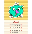 Calendar 2017 with cats August In cartoon 80s vector image vector image