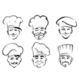 Cartoon chefs in toques vector image vector image