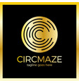 circle maze logotype - letter c logo vector image vector image