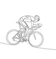 continuous one line cyclist in helmet riding a vector image vector image