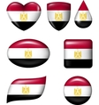 Egypt Flag in various shape glossy button vector image vector image