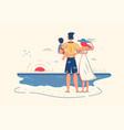 family enjoy ocean view on beach vector image vector image