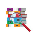 files in hand ring binders and magnifying glass vector image