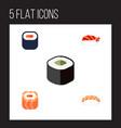 flat icon sashimi set of gourmet seafood maki vector image vector image