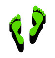 foot prints sign green 3d icon with black vector image vector image
