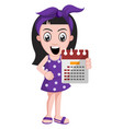 girl holding calendar on white background vector image vector image