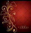 golden floral on red background vector image vector image