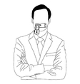 hand drawn doodles of businessman lock his mouth vector image vector image
