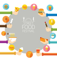 Hands Holding Food with Icons Frame vector image vector image