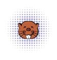 Head of beaver icon comics style vector image