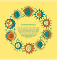 human viruses banner with round frame in line vector image vector image