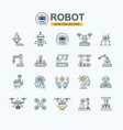 industrial robot icon set for business technology vector image
