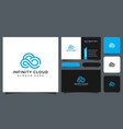 infinity cloud logo design and business card vector image