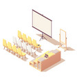 isometric presentation room interior vector image