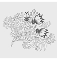 Khokhloma decorated hand-drawn ornament line art vector image