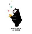 lovely black bear holding star