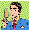man with a glass of champagne date holiday toast vector image vector image