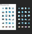 marketing icons light and dark theme vector image