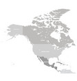 north america with countries grey map vector image vector image