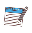 notebook sheet with pencil vector image vector image